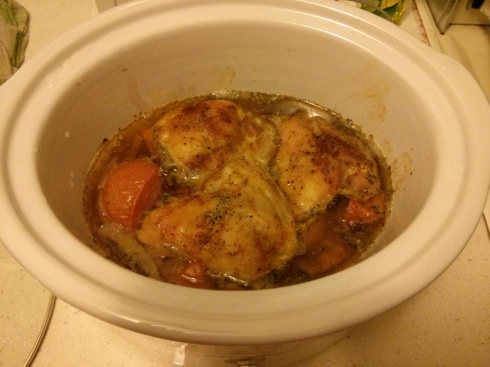 Chicken Thigh Cooking in Crock Pot